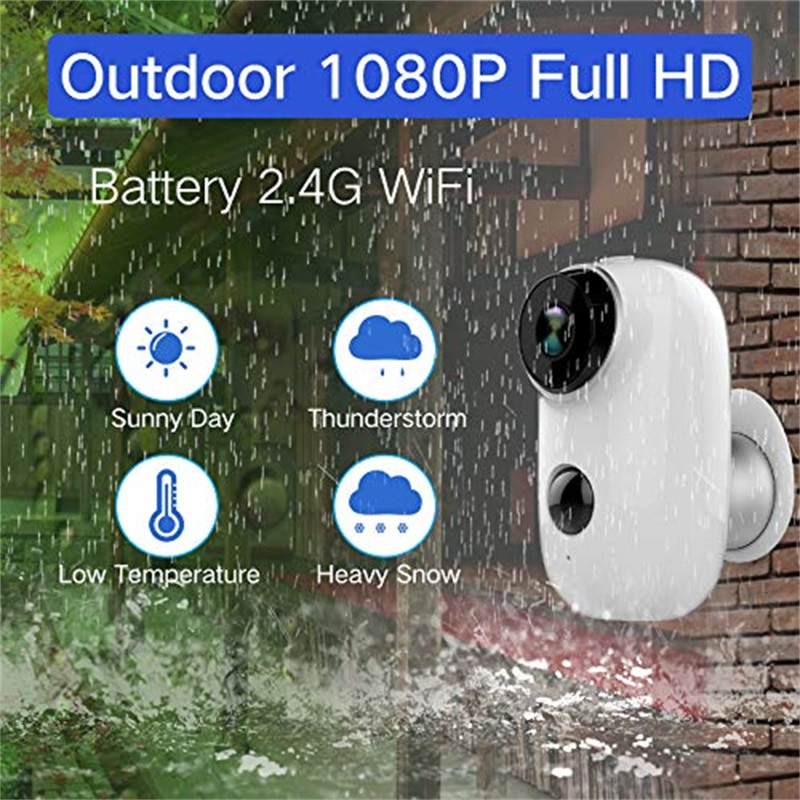 2019 New Home Battery WiFi Camera IP65 Certified Weather-Resistant Rechargeable HD Smart Security Camera With Audio