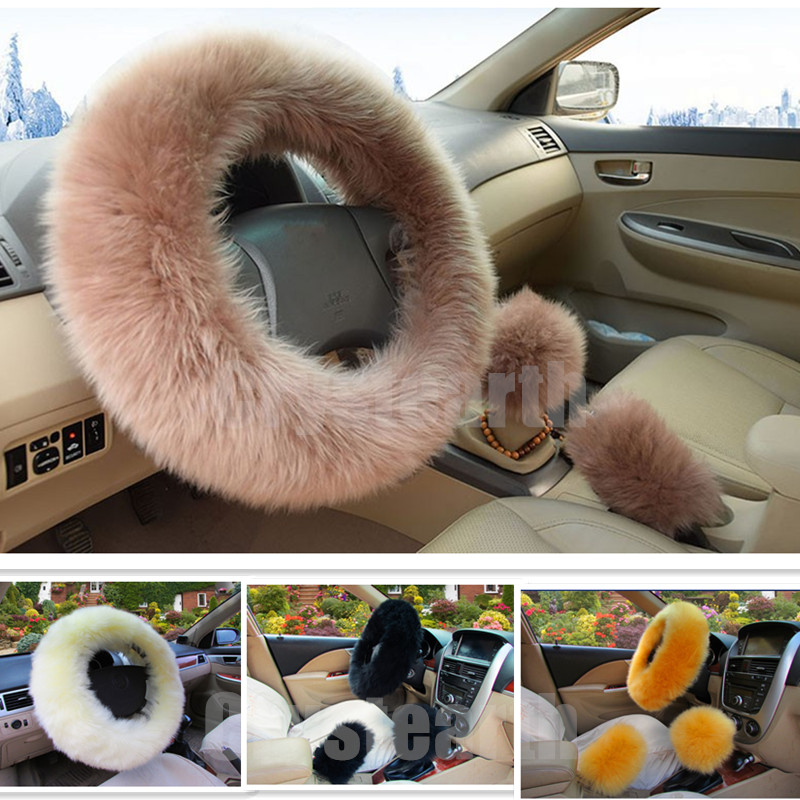 3pcs/set Winter Car Steering-wheel Cover Long Warm Wool Heated Fur Genuine Leather Steering Wheel Cover Gear Shift Cover 38cm