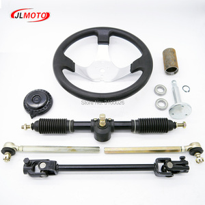 Image 2 - 300mm Steering wheel 420mm Gear Rack Pinion 380mm U Joint Tie Rod Knuckle Assy Fit For China 110cc Go Kart Buggy UTV Bike Parts