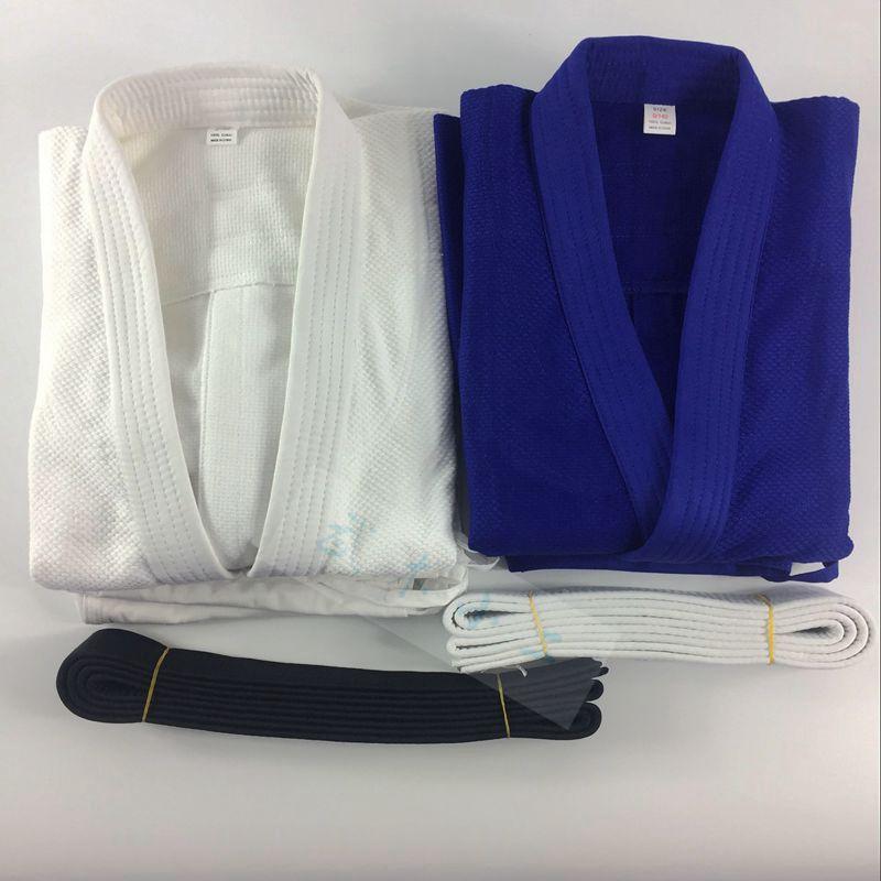 100% Cotton Brazil Judo Gi Uniforms Bjj jiu-jitsu wushu Kung fu clothing training sets Men Woman Child White & Blue With Blet top quality brazil brazilian jiu jitsu judo gi bjj gi classic black blue white present white belt kung fu a1 a4 kung fu clothing