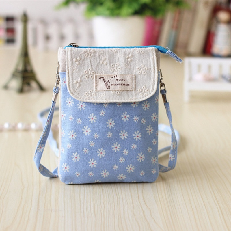 Cotton 5 layer snow flower women coin purses ladies crossbody wallets bags female small phone pouches carteira feminine for girl