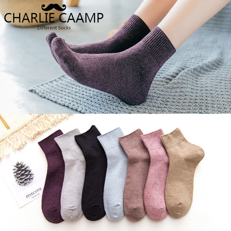 Pure Cotton Women   Socks   Day Series Pure Color Autumn Winter Fashion New Vintage Loose Top   Socks   Middle Tube Ladies   Socks   L115