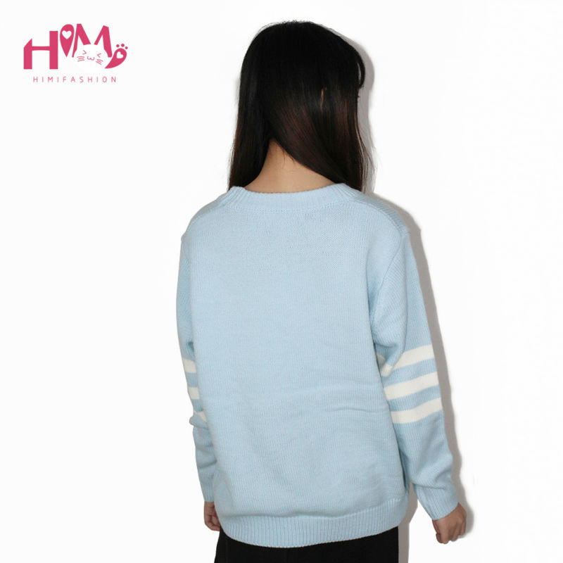 Baby Blue Baby Pink Knitted Sweater Winter Women Shirt Hot Korea Japanese Fashion  7