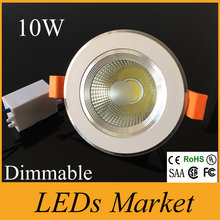 Neue Ankunft Weiße Schale COB Vertieften Dimmable Downlights 10 watt 60 Winkel AC 90-260 V Lebensdauer 50000 h Natur Weiße LED UL
