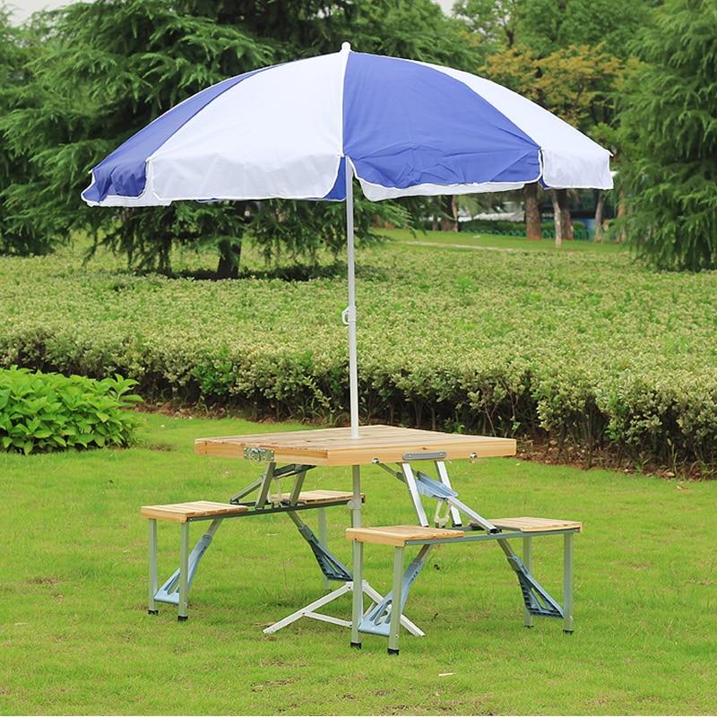 Le bureau de pique-nique de pli d'alliage d'aluminium portatif de prise facile avec quatre sièges offre spéciale la chaise occasionnelle de plage de table, chaise de loisirs