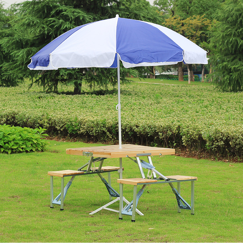 easy taking portable aluminium alloy fold picnic desk with four seats hot sale occasional table beach chair, leisure chair hot sale c shaped waterfall acrylic occasional side table