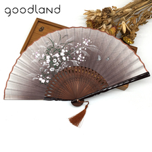 free shipping wholesale 50pcslot floral pattern bamboo folding fan party favors elegant home decor - Discount Halloween Decor