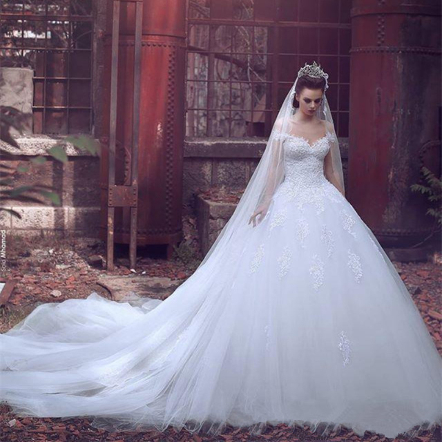 Off The Shoulder Princess Wedding Dresses Ball Gown Lace Bride ...
