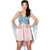 יווני אלת מסיבת ליל כל הקדושים Cosplay תלבושות קליאופטרה גברת סקסי עמוק צווארון V שמלה לרתום פיתוי Nightwear ארוטי שמיים כחולים