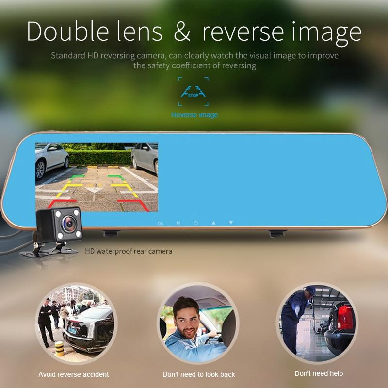 Jansite 1080P automobilinis dvr mėlynas galinio vaizdo veidrodis - Automobilių Elektronika - Nuotrauka 3