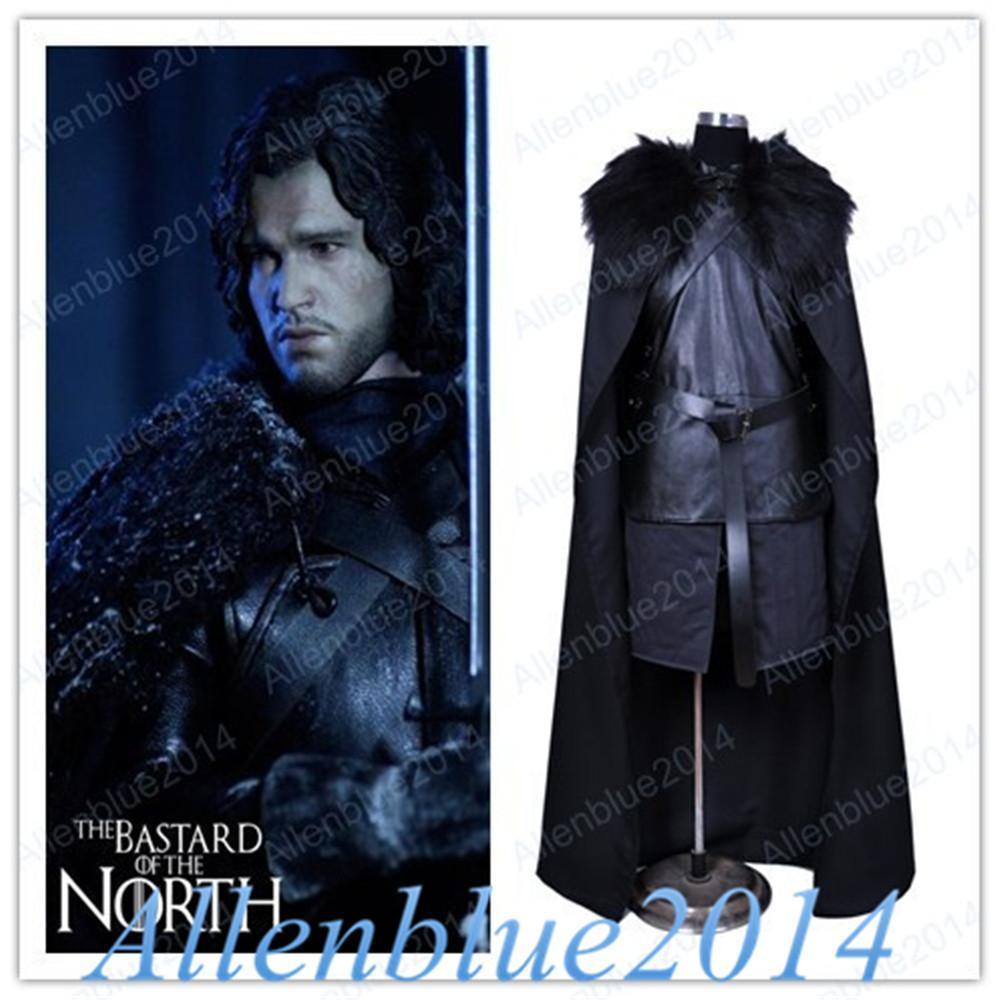 Game of Thrones Jon Snow Cosplay Fancy Costume Men Fur Cloak Jacket Coats Outfits Robe 2017