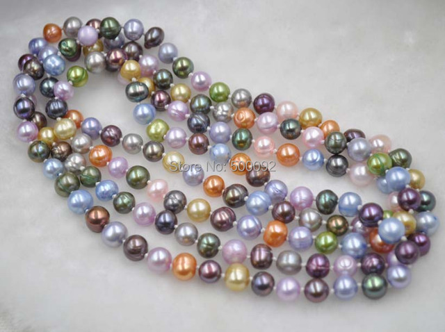 Free shipping 140cm  long 7-8mm multicolor genuine freshwater pearl Necklace