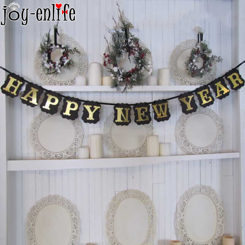 1set paper banner bunting garland flags happy new year glitter alphabet banner chinese new years eve