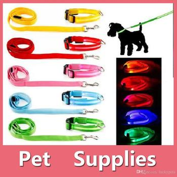 Pet Dog LED Collar and Leash Cat Soft Glossy Reflective Safety Buckle Pet Supplies Dog Collars + leashes Colorful
