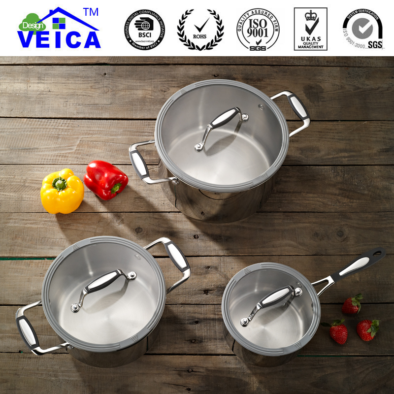 2019 New 3pcs Eco friendly Lfgb Induction Stainless Steel Cookware Casserole With Strainer Lids Stylish Home Cooking Tools - 2
