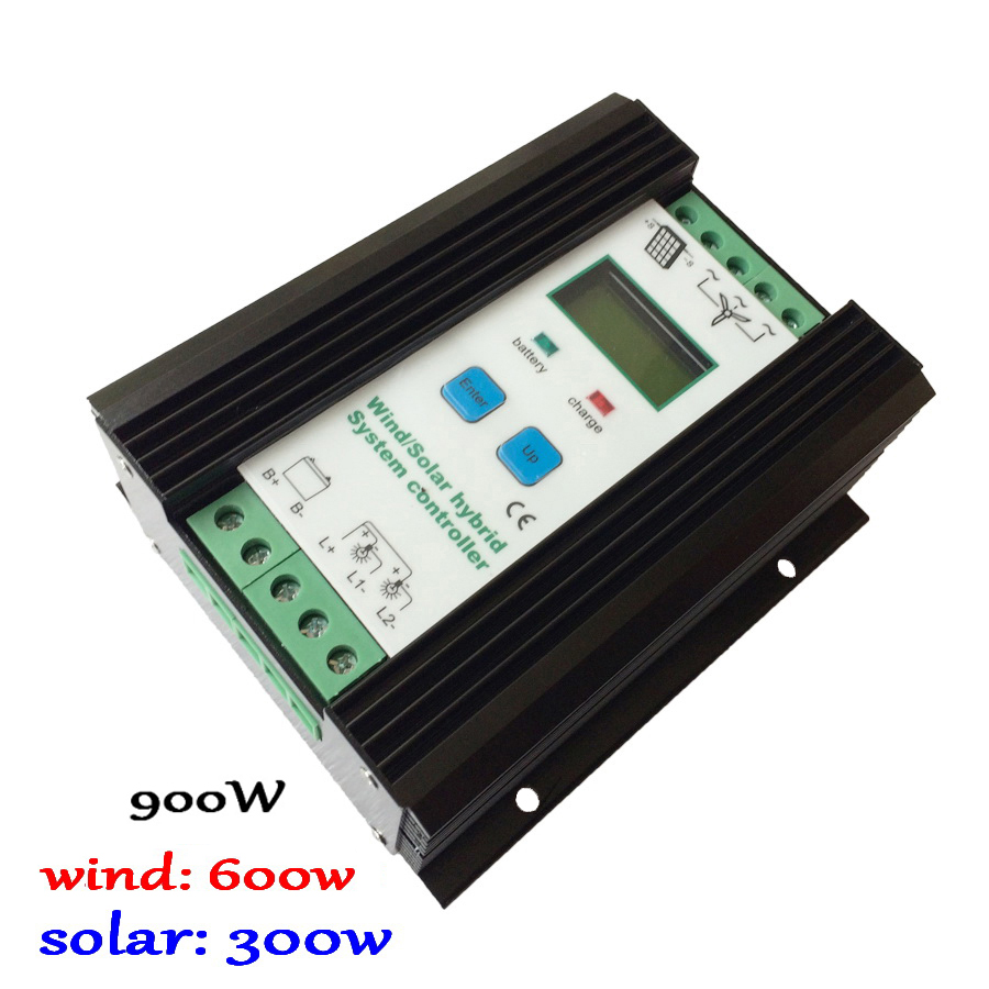 900w Off Grid MPPT Wind Solar Hybrid Charge Controller, 12/24V Auto for 600W wind+300W solar wind and solar hybrid controller 600w with lcd display charge controller for 600w wind turbine and 300w solar panel 12v 24v