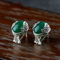 925 silver Seiko carved matte Green stone ear clip Zuyin jewelry lady