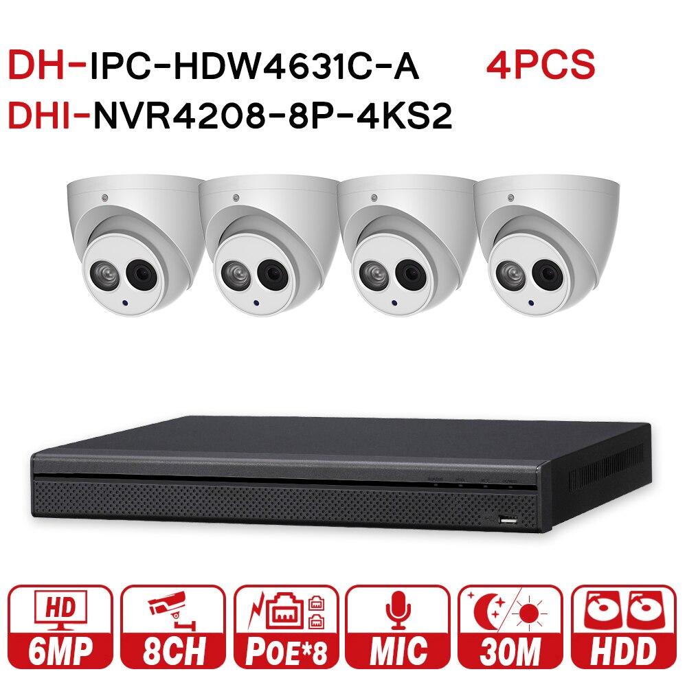 DH оригинальный видеонаблюдения Системы 4 шт. 6MP ip-камера IPC-HDW4631C-A и 8POE 4 К NVR NVR4208-8P-4KS2 видеонаблюдения Системы