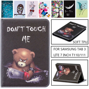 Owl Butterfly Flowers PU Leather Stand Case Cover For Samsung Galaxy Tab3 7.0 Lite T110 T111 Tablet case For Samsung T113 T116