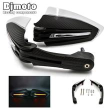 цена на Bjmoto Motorcycle Handguard Hand Guard Protector for Kawasaki Suzuki Honda Yamaha KTM moto ATV LED light 22mm Handlebar Guard