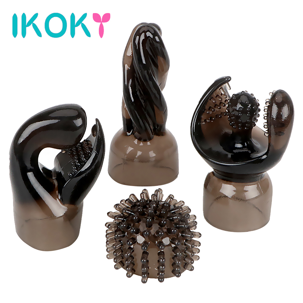 Body Accessories <font><b>Vibrator</b></font> Head Caps <font><b>4</b></font> <font><b>PCS</b></font>/<font><b>lot</b></font> Massager Cover <font><b>Magic</b></font> <font><b>Wand</b></font> <font><b>AV</b></font> <font><b>Rod</b></font> Sleeve IKOKY Sex Toys for Woman Female