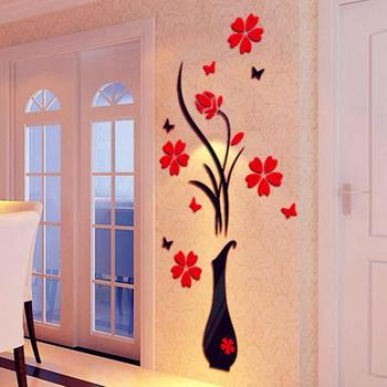 DIY Vase Flower Tree Crystal Arcylic 3D Wall Stickers Decal Home Decor 1