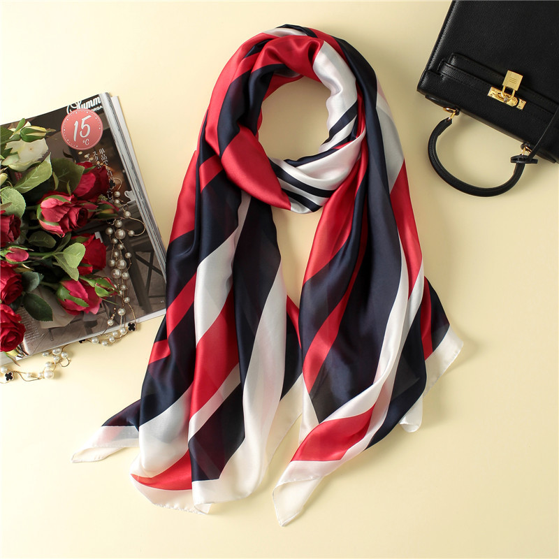 Wholesale high quality striped women scarf soft smooth silk scarves shawls and wraps lady pashmina