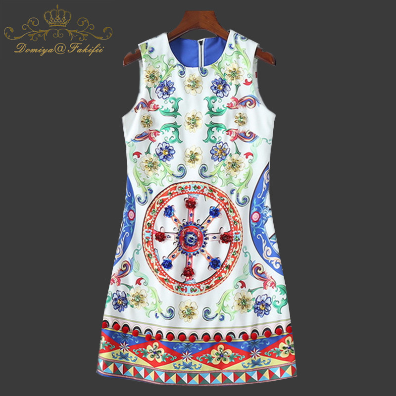 New 2018 Designer Summer Mother And Daughter Dress Women Sleeveless Luxury Crystal Beading Floral Print Casual Mini Short Dress sweet round collar flower and leaves print sleeveless dress for women
