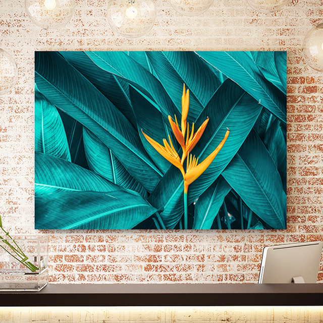 Nordic Yellow Flower Green Tropical Plant Leaves Canvas Poster Print Wall Art Picture Framed