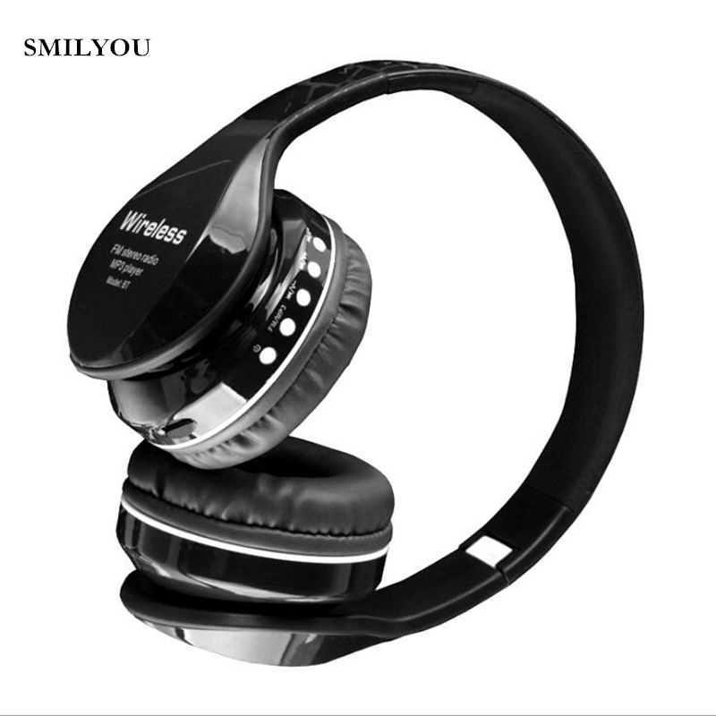 SMILYOU New Arrival colorful stereo Audio Mp3 Bluetooth Headset Foldable Wireless Headphones Earphone support SD card with Mic ботинки