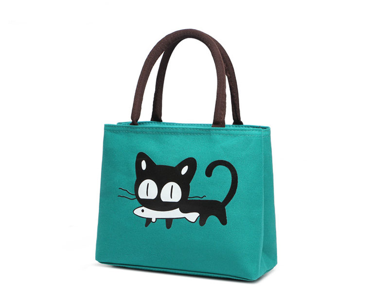 New Fashion Lunch Bag Cartoon Cute Cat Canvas Lunch Box Tote Thermal Bag Lunch Box Bag for Women Kids Men bolsa termica