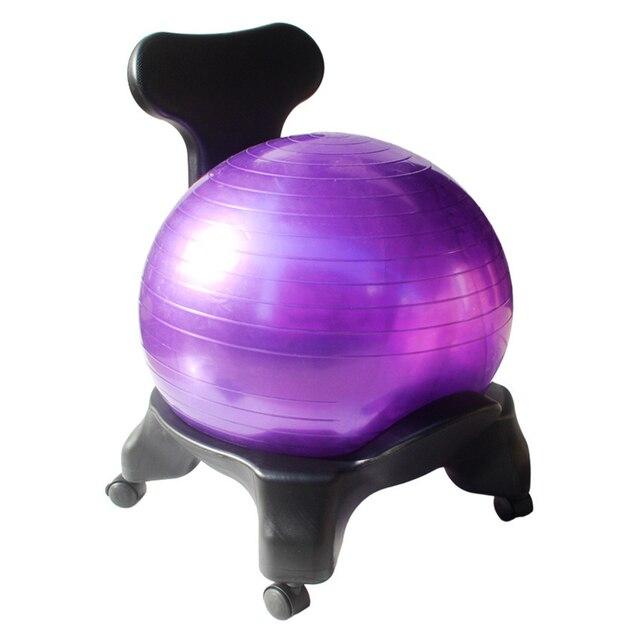Yoga bola Bola de equilibrio silla con respaldo y 55 cm estabilidad  ejercicio bola guía para f157802f3b19