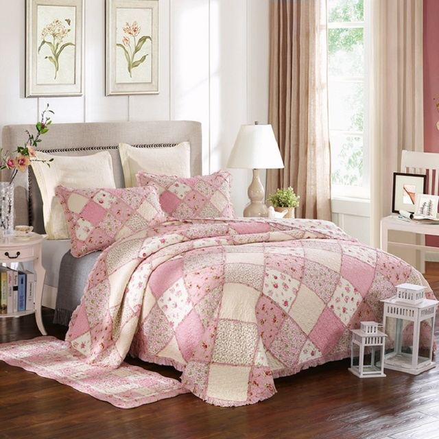 CHAUSUB Korean Floral Coverlet Set 3PC Washed Cotton Patchwork Quilt Set  Bedspread Sheets Pillowcase Bed Cover