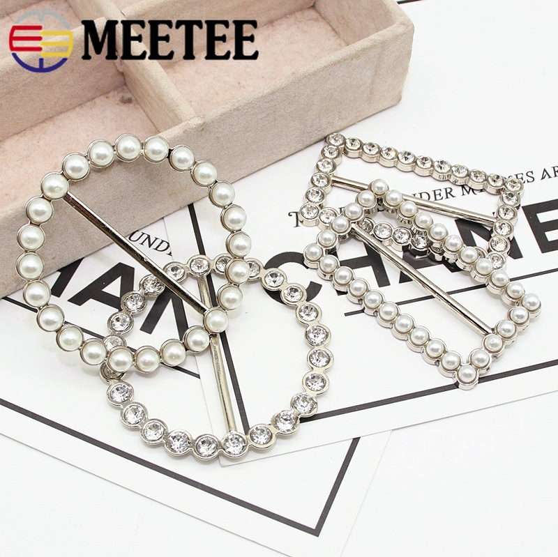 Buckles & Hooks Rapture Meetee 4pcs 21-49mm Metal Waist Buckle Rhinestone Pearl Decor Tri-glide Adjustment Buckle Diy Coat Scarf Clothing Accessory Special Summer Sale