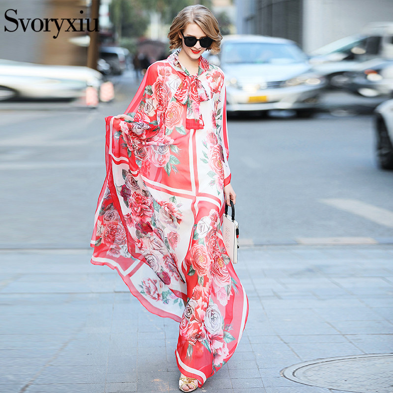 Svoryxiu 2019 Runway Custom Summer Maxi Long Dress Women s Batwing Sleeve Rose Floral Print Loose