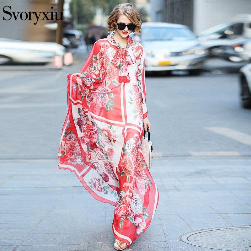 Svoryxiu 2019 Runway Benutzerdefinierte Sommer Maxi Lange Kleid frauen Batwing Sleeve Rose Floral Print Lose Lange Robe Weibliche Vestidos-in Kleider aus Damenbekleidung bei  Gruppe 1