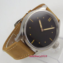 43mm Parnis Black Sterile Dial Stainless steel Case Sapphire Glass Leather strap Hand Winding Mechanical men's Watch цена и фото