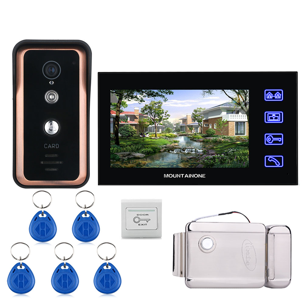 Touch Key Wired 7 Inch Video Door Phone Video Intercom Doorbell System RFID IR-CUT Camera + Stainless Steel Electronic Door Lock