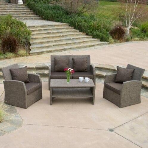 Venta caliente cómodos Muebles de Jardín sofá clásico conjunto de sofás de mimbre