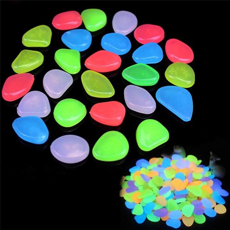 10pcs/lot Luminous Pebbles Rocks Garden Ornaments Stone Glow In The Dark GardenFor Walkways Fish Tank Decorations