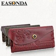 Heiße Neue Frauen Brieftasche Weibliche Geldbörsen Femme Tasche Aus Echtem Leder Prägung Haspe Marke Redo Va Frauen Elegante frauen brieftaschen