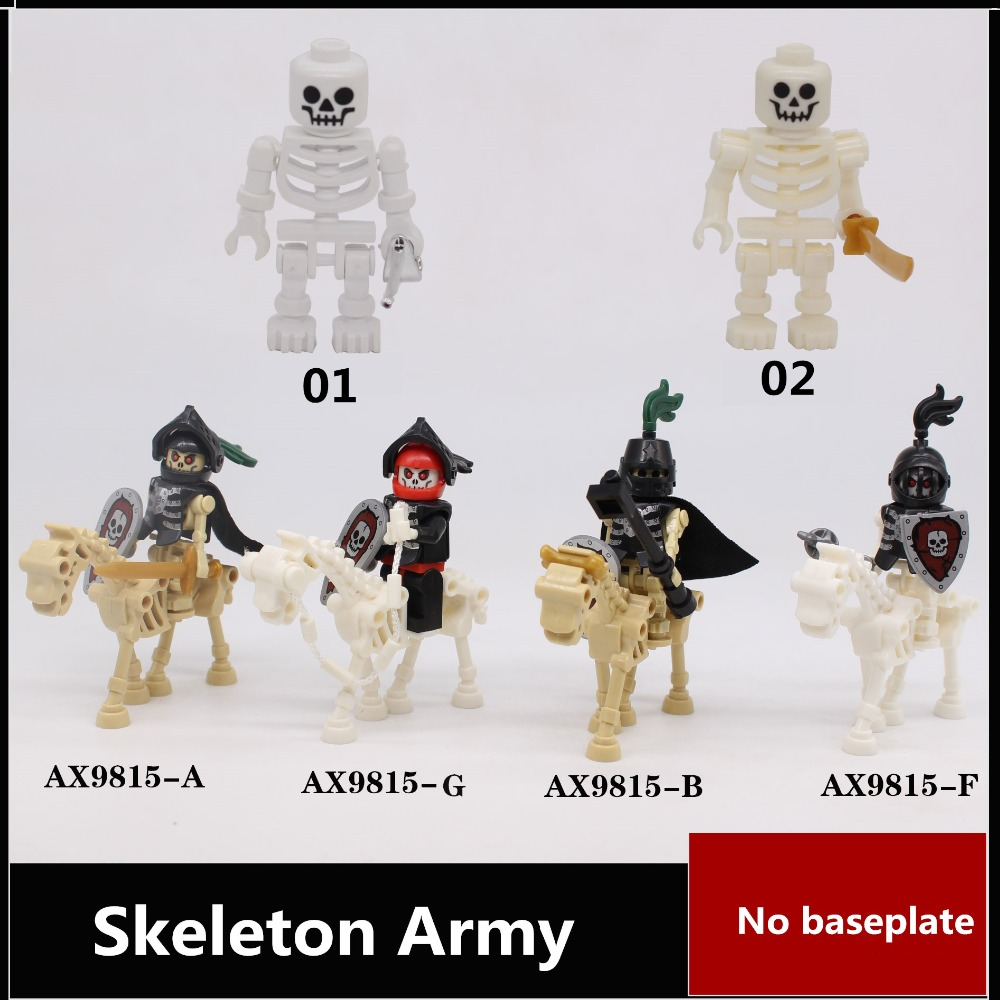 6 style Skeleton Army Building block figures starwarsI no baseplate Educational Anime Compatible With Legoe Baseplate for gift