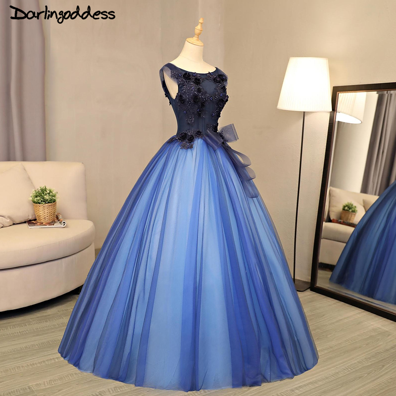 244c0aa450cc5 US $118.8 40% OFF|Luxury Ball Gown Wedding Dresses Arabic 2017 Royal Blue  Princess 3D Flowers Beading Tulle Wedding Gowns Birde Dresses Real Photo-in  ...