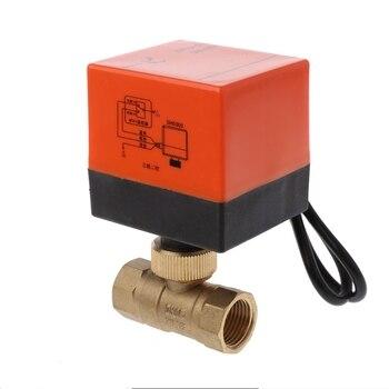 DN15/DN20/DN25 2 Maneira 3-Fio de Bronze Motorizada Válvula de Esfera com Atuador Elétrico AC 220 v à prova d' água
