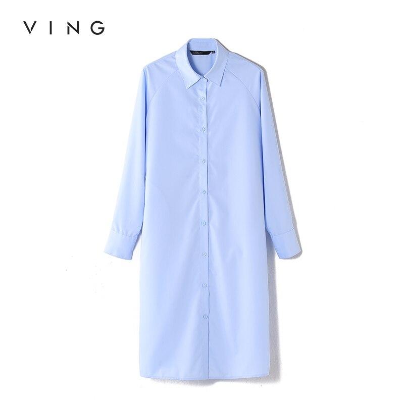 VING Bandage Long Shirts Women Solid Turn-Down Collar Shirts Fashion Elastic Waist Long Sleeve Blouses Autumn Female Tops