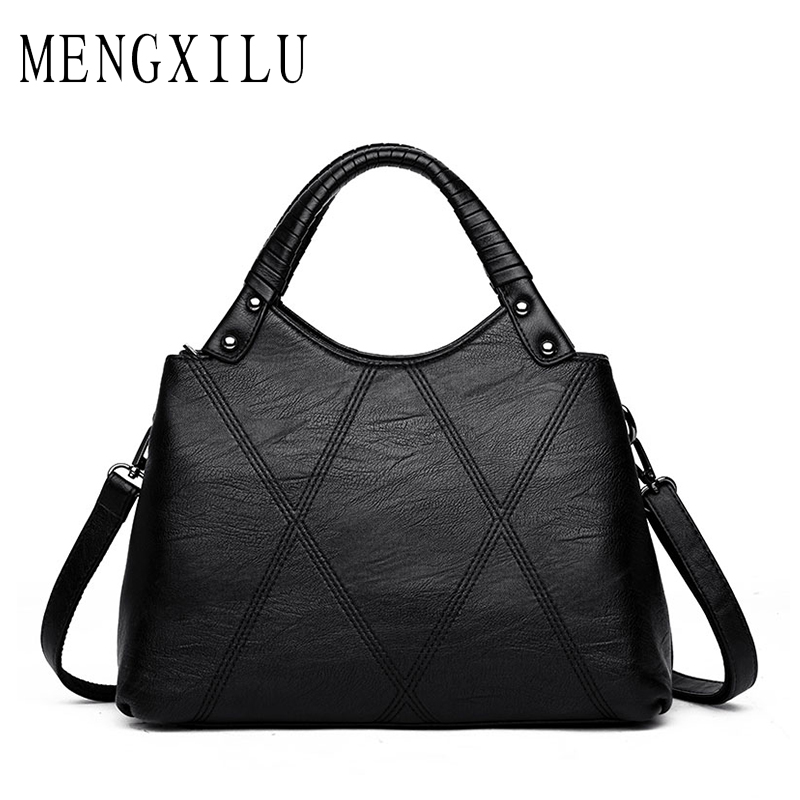 MENGXILU Brand Ladies Hand Bags PU Leather Bag Women Casual Crossbody Bags 2018 Fashion Luxury Handbags Designer Knitting Tote