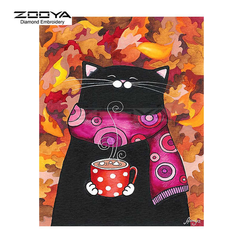 5D ZOOYA Diamante Bordados DIY Pintura Diamante Cat Cute & Xícaras de Café Pintura Diamante do Ponto da Cruz de Strass Mosaico BJ1794