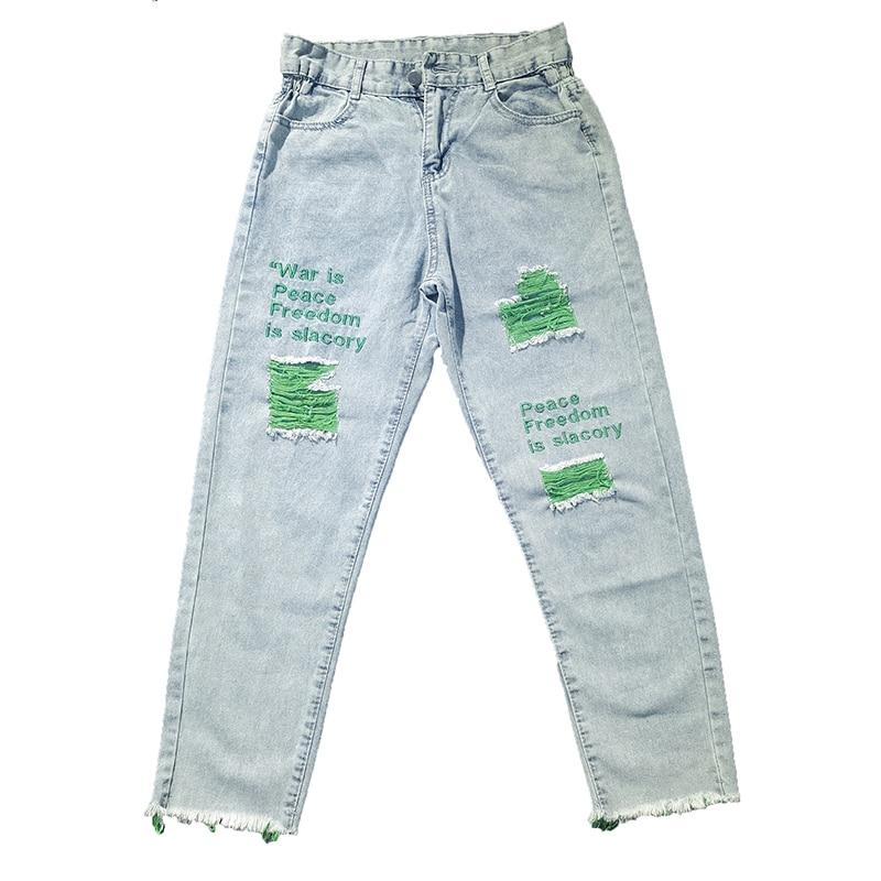 New Cotton Jeans Women 2019 Vintage Embroidered Jeans Loose Hole Pants Harem Pants Harajuku Multicolor Jeans Female Trousers