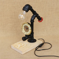 Vintage Water Pipe Lightings Retro Industrial Desk Lamps Steel Pipe Table Lamp wood Base E27 Holder for Bedroom Light