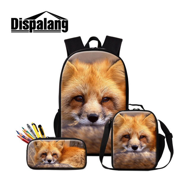 b143ccfef0a Dispalang 3Pcs set Fox Women Backpack Large Capacity School Bags Animal  Print Lunch Tote For